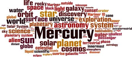 Merkur-Wortwolkenkonzept. Vektor-Illustration