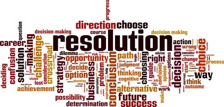 Resolution word cloud concept. Vector illustration Ilustración de vector