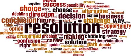 Resolution word cloud concept. Vector illustration