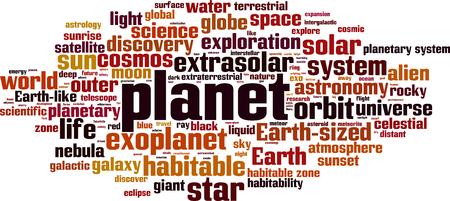 Planet word cloud concept. Vector illustration