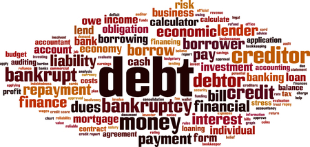 Debt word cloud concept. Vector illustration  イラスト・ベクター素材