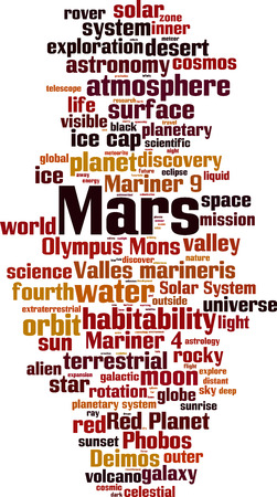 Mars word cloud concept. Vector illustration