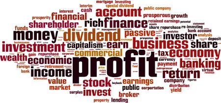 Profit word cloud concept. Vector illustration