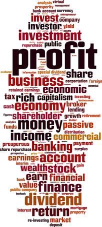 Profit word cloud concept. Vector illustration Ilustrace
