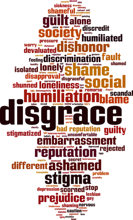 Disgrace word cloud concept. Vector illustration