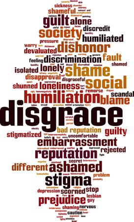 Disgrace word cloud concept. Vector illustration