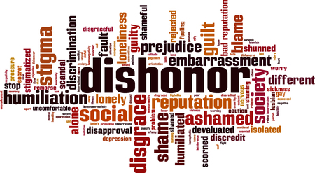 Dishonor word cloud concept. Vector illustration