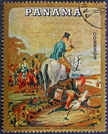 PANAMA - CIRCA 1968: a stamp printed in Panama shows hunting scene, gobelin, circa 1968