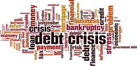 Debt crisis word cloud concept. Vector illustration