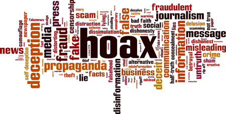 Hoax word cloud concept. Vector illustration