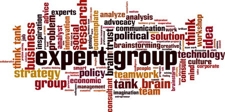 Expert group word cloud concept. Vector illustration