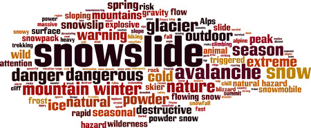 Snowslide word cloud concept. Vector illustration Çizim