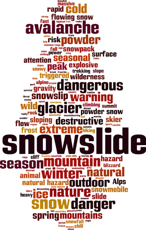 Snowslide word cloud concept. Vector illustration Illustration