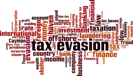 Tax evasion word cloud concept. Vector illustration