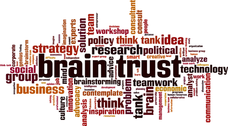 Brain trust word cloud concept. Vector illustration