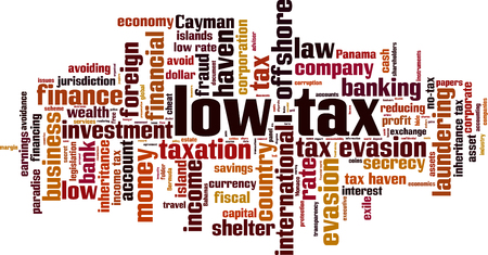 Low-tax word cloud concept. Vector illustration