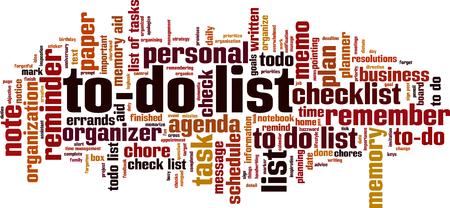 liste de choses à faire concept de nuage de mots. Illustration vectorielle