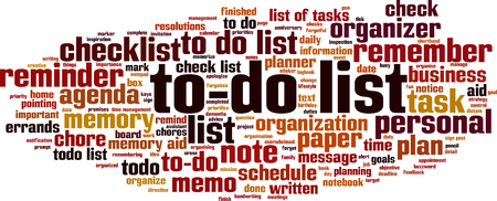 to-do list word cloud concept. Vector illustration
