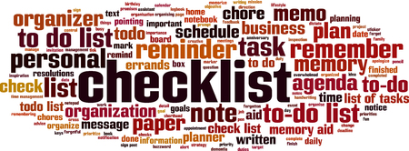 Checklist word cloud concept. Vector illustration Ilustração