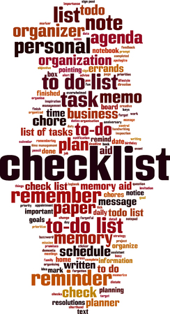 Checkliste Word Cloud-Konzept. Vektor-Illustration