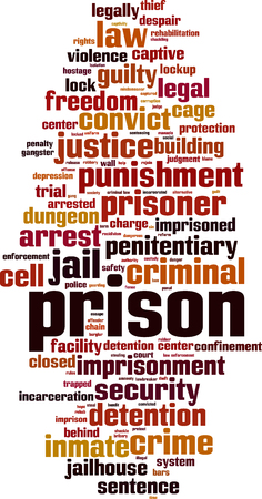 Prison word cloud concept. Vector illustration