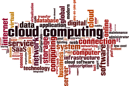 Cloud computing word cloud concept. Vector illustration Illustration