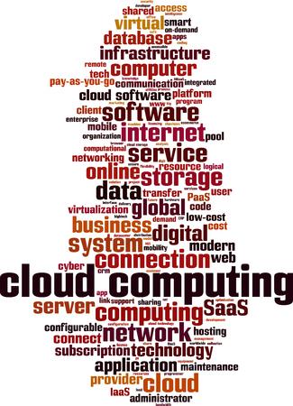 Cloud computing word cloud concept. Vector illustration  イラスト・ベクター素材