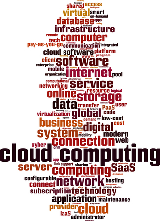 Cloud computing word cloud concept. Vector illustration Illustration