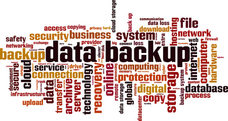Data backup word cloud concept. Vector illustration