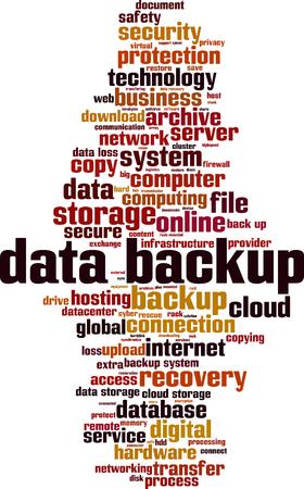 Data backup word cloud concept. Vector illustration