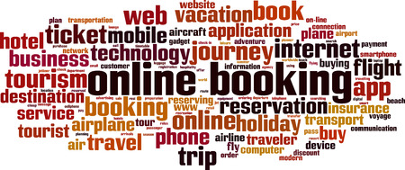 Online booking word cloud concept. Vector illustration