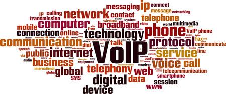 VoIP word cloud concept. Vector illustration