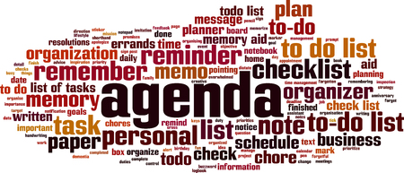 Agenda word cloud concept. Vector illustration