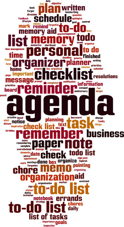Agenda word cloud concept. Vector illustration
