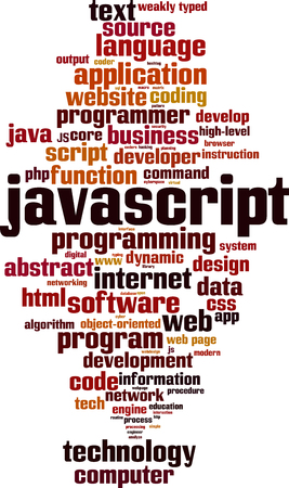 Javascript word cloud concept. Vector illustration