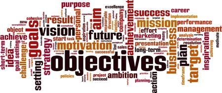 objektives word cloud concept. Vector illustration