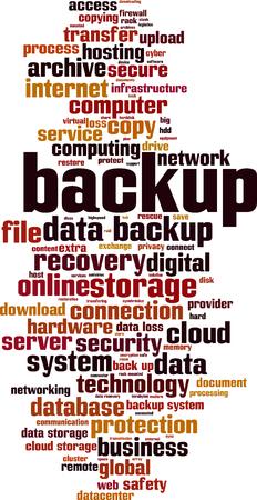 backup word cloud concept. Vector illustration