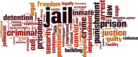 Jail word cloud concept. Vector illustration