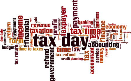 Tax day word cloud concept. Vector illustration Stock Illustratie