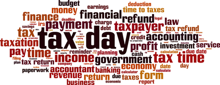 Tax day word cloud concept. Vector illustration