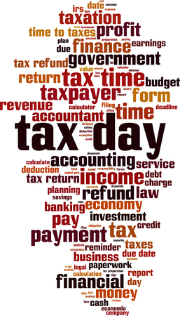 Tax day word cloud concept. Vector illustration  イラスト・ベクター素材