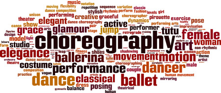 Choreography word cloud concept. Vector illustration