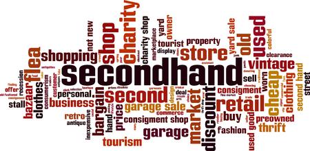 Secondhand word cloud concept. Vector illustration Stock Illustratie