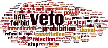 Veto word cloud concept. Vector illustration
