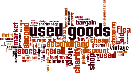 Used goods word cloud concept. Vector illustration