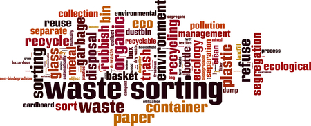 Waste sorting word cloud concept. Vector illustration Ilustração