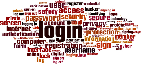 Login word cloud concept. Vector illustration Vectores