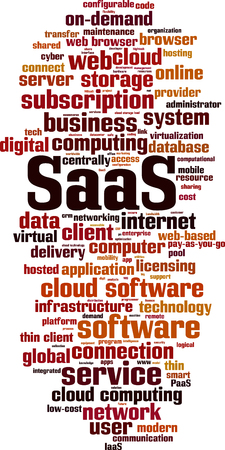 SaaS, software as a service, word cloud concept. Vector illustration Illustration
