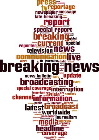 Breaking news word cloud concept. Vector illustration