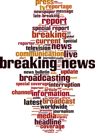 Breaking news word cloud concept. Vector illustration
